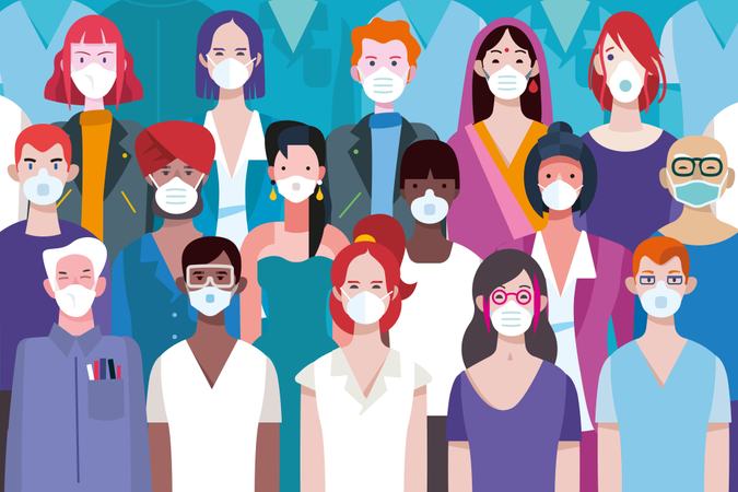Men and women of different races with protective medical face masks Illustration