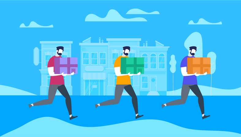 Men Carry Bulky Cardboard Package Boxes Illustration
