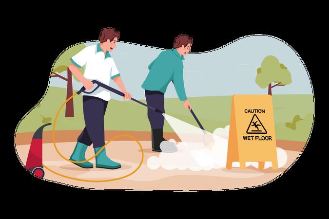 Men cleaning floor Illustration