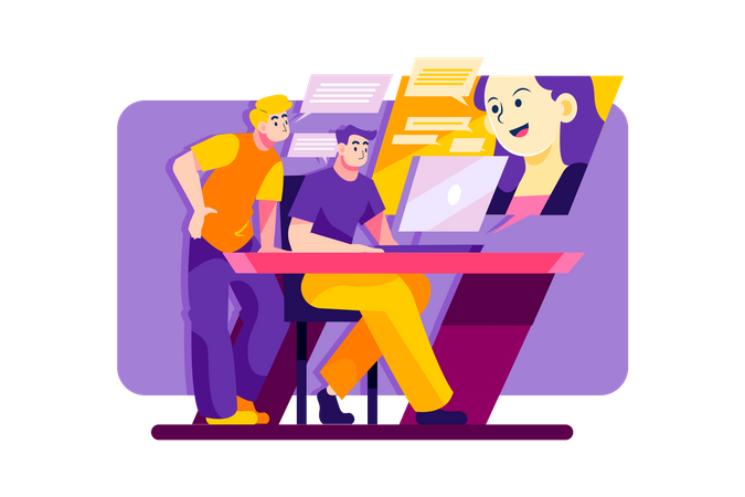 Men having online meeting with a woman Illustration