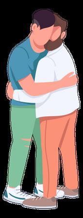 Men hugging Illustration