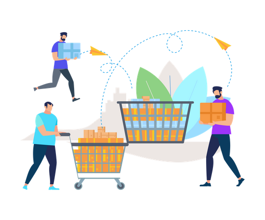 Men in Casual Clothes Pushing Trolley with Boxes Illustration