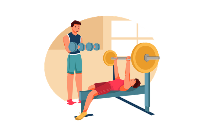 Men lifting weight using dumbbell and weight bench Illustration