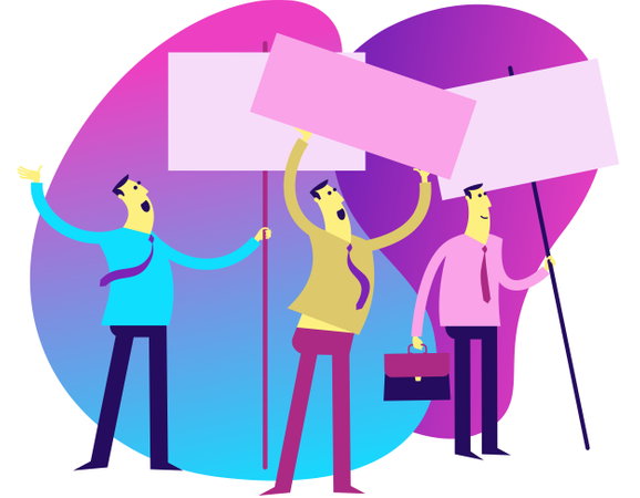Men Standing With Blank Posters Illustration