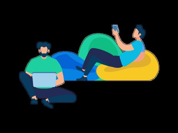 Men Using laptop and smartphone for communication Illustration