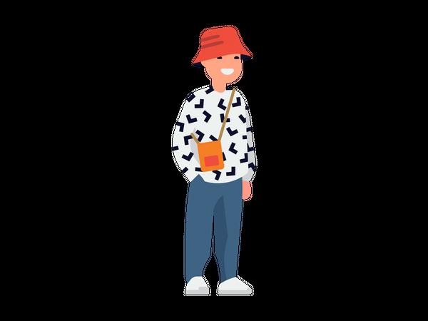 Men wearing red cap and pocket bag Illustration