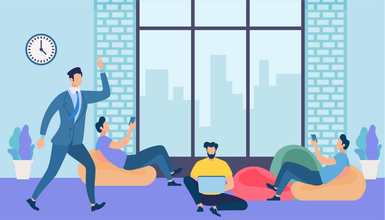 Men Work and Messaging with Gadgets in Office Illustration
