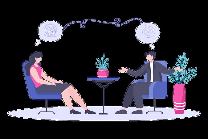 Mental health discussion Illustration