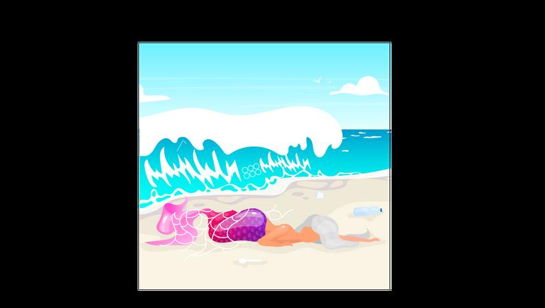 Mermaid trapped in fishnet Illustration