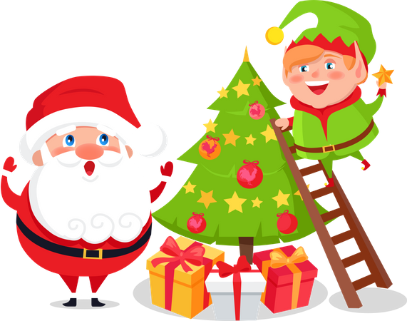 Merry Christmas and Happy New Year Winter Holidays Illustration