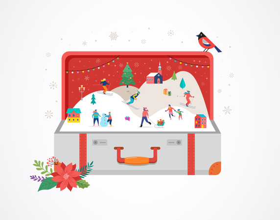 Merry Christmas, Big open suitcase with winter scene and small people Illustration
