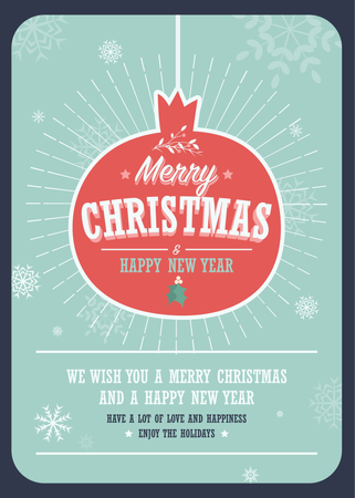 Merry Christmas card on a decorative Christmas ball on winter background Illustration