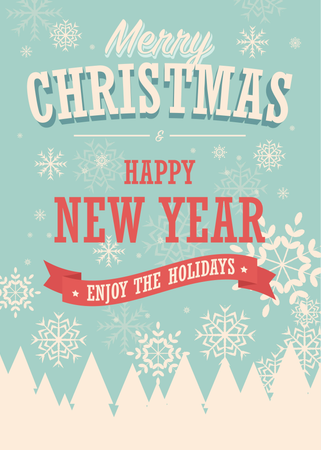 Merry Christmas card on winter background, poster design Illustration