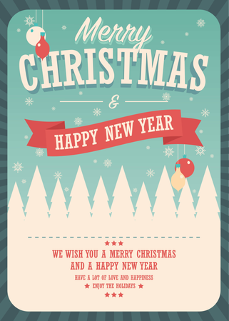 Merry Christmas card on winter background, poster design, vector illustration Illustration