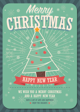 Merry Christmas card with Christmas tree and gift boxes on winter background Illustration