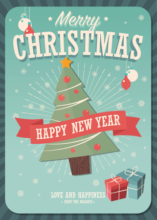Merry Christmas card with Christmas tree and gift boxes on winter background, vector illustration Illustration