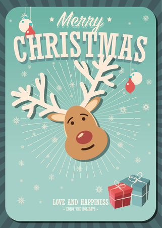 Merry Christmas card with reindeer and gift boxes on winter background, vector illustration Illustration