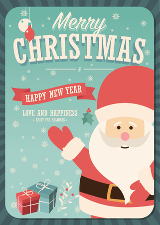 Merry Christmas card with Santa Claus and gift boxes on winter background, vector illustration Illustration