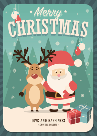 Merry Christmas card with Santa Claus and reindeer and gift boxes on winter background, vector illustration Illustration
