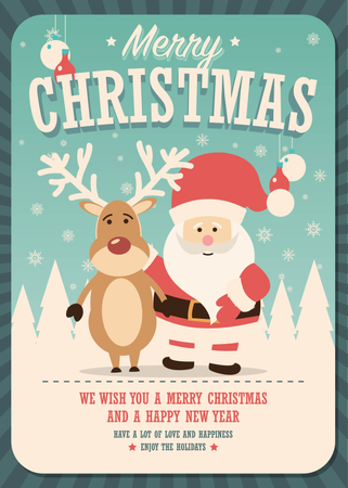 Merry Christmas card with Santa Claus and reindeer on winter background Illustration