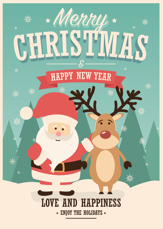 Merry Christmas card with Santa Claus and reindeer on winter background, vector illustration Illustration