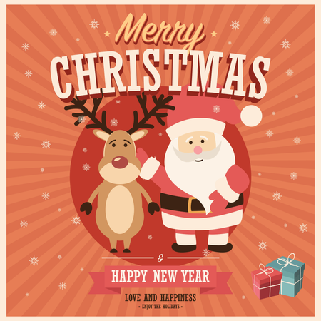 Merry Christmas card with Santa Claus and reindeer with gift boxes, vector illustration Illustration