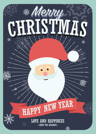 Merry Christmas card with Santa Claus on winter background Illustration