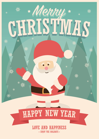 Merry Christmas card with Santa Claus on winter background, vector illustration Illustration