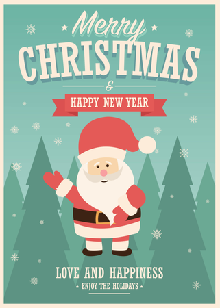 Merry Christmas card with Santa Claus on winter landscape background, vector illustration Illustration