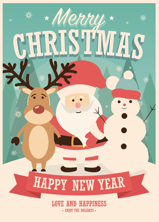 Merry Christmas card with Santa Claus, reindeer and snowman on winter background, vector illustration Illustration