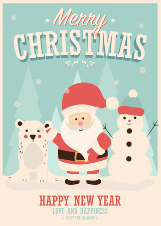 Merry Christmas card with Santa Claus, snowman and reindeer, winter landscape, vector illustration Illustration