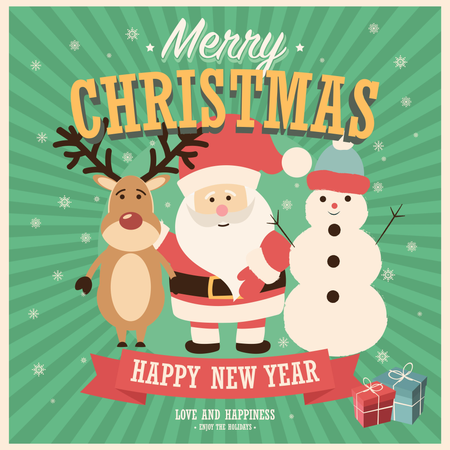 Merry Christmas card with Santa Claus, snowman and reindeer with gift boxes, vector illustration Illustration