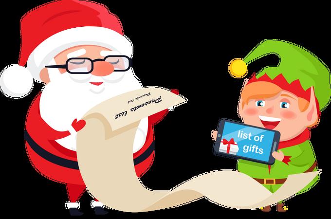 Merry Christmas, Happy New Year, Santa Claus Elf Illustration