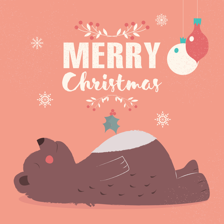 Merry Christmas lettering postcard with cute brown bear laying down Illustration