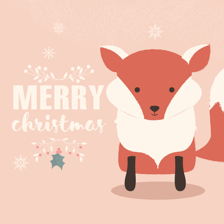 Merry Christmas lettering postcard with cute orange baby fox Illustration