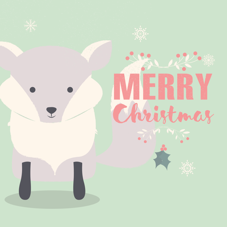 Merry Christmas lettering postcard with cute polar baby fox Illustration