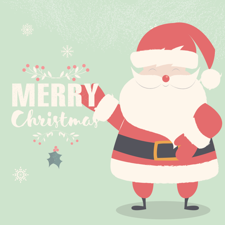 Merry Christmas lettering postcard with smiling and waving Santa Claus Illustration