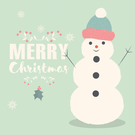 Merry Christmas lettering postcard with smiling Snowman Illustration