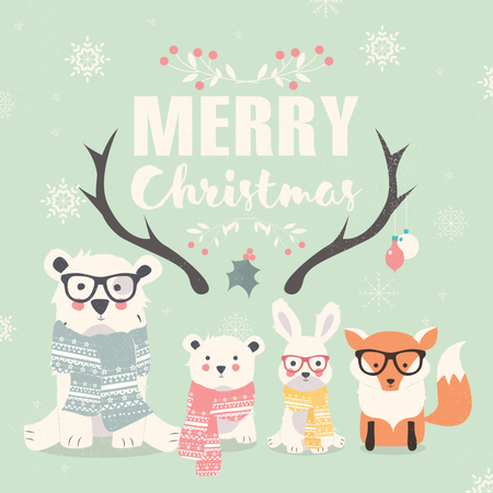 Merry Christmas lettering with hipster polar bears, fox and rabbit Illustration