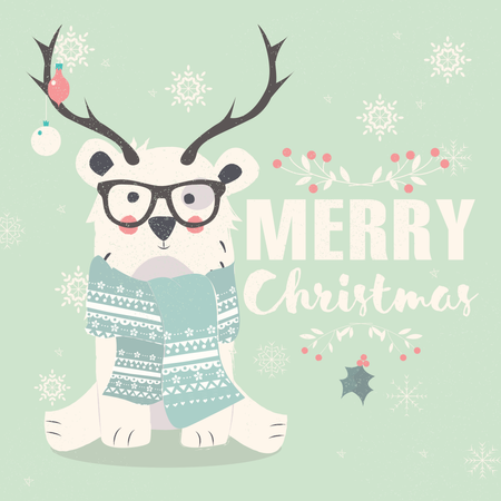 Merry Christmas postcard, hipster polar bear wearing glasses and antlers Illustration