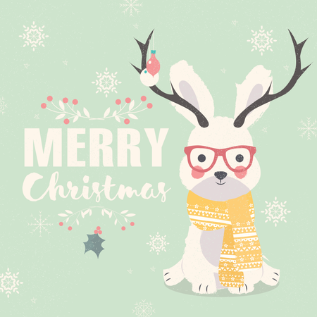 Merry Christmas postcard, hipster polar rabbit wearing glasses and antlers Illustration