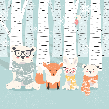 Merry Christmas postcard with bears, fox and rabbit in forest Illustration