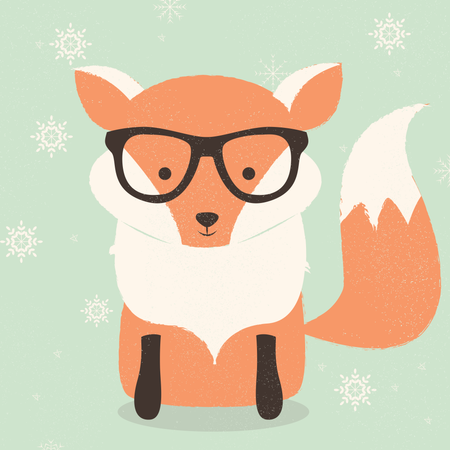 Merry Christmas postcard with cute hipster orange fox wearing glasses Illustration