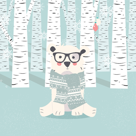Merry Christmas postcard with hipster polar white bear in forest Illustration