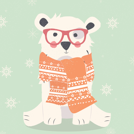 Merry Christmas postcard with hipster polar white bear wearing scarf Illustration