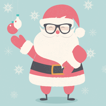 Merry Christmas postcard with hipster Santa Claus wearing glasses Illustration