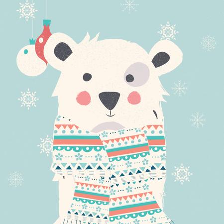 Merry Christmas postcard with polar white bear wearing scarf Illustration