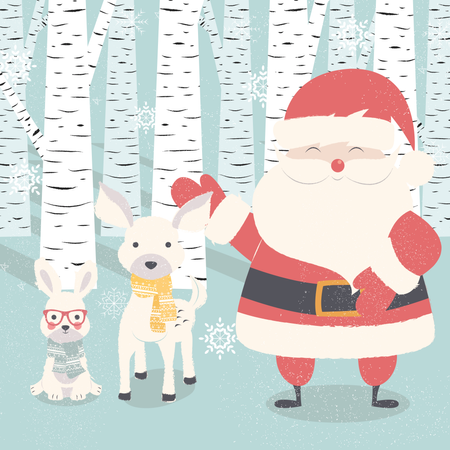Merry Christmas postcard with Santa Claus, deer, rabbit in forest Illustration
