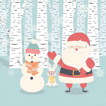 Merry Christmas postcard with Santa Claus, snowman, rabbit in forest Illustration