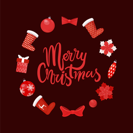 Merry Christmas Symbolic Images of Winter Holiday Illustration